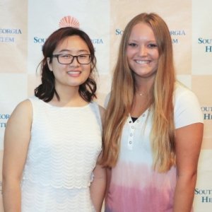Scholarship winners Jenny Kim and Nicole Trammell